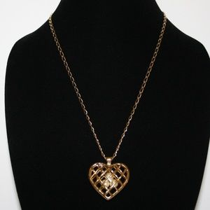 Vintage gold heart and pearl cage necklace 32""